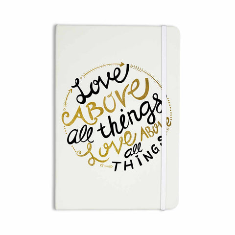 "Pom Graphic Design ""Love Above All Things"" Black Gold Vector Typography Everything Notebook - KESS InHouse  - 1"