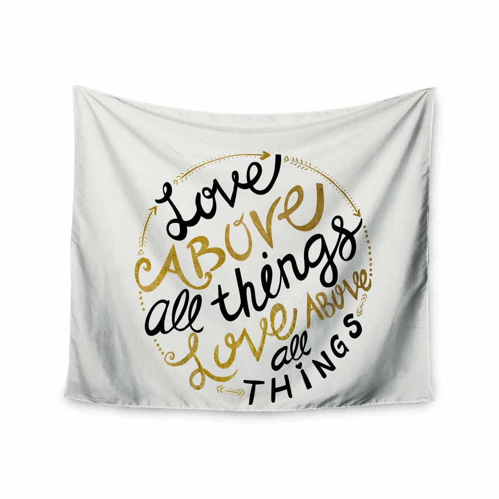 "Pom Graphic Design ""Love Above All Things"" Black Gold Vector Typography Wall Tapestry - KESS InHouse  - 1"