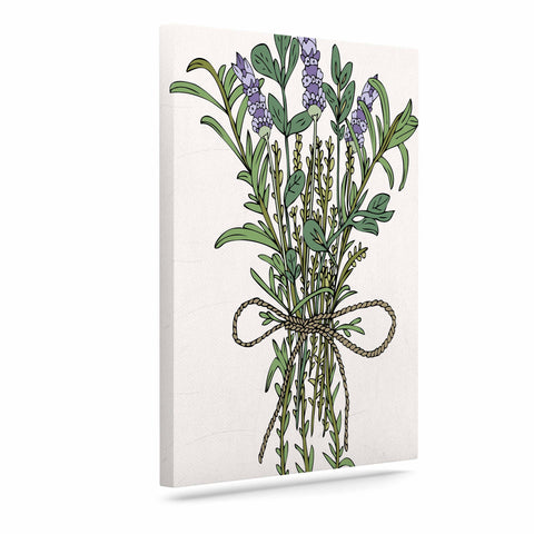 "Pom Graphic Design ""Herbal Bunch Of Love"" Lavender Green Illustration Canvas Art"