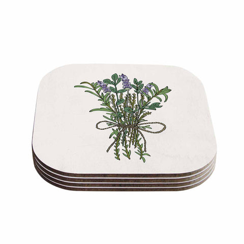 "Pom Graphic Design ""Herbal Bunch Of Love"" Lavender Green Illustration Coasters (Set of 4)"