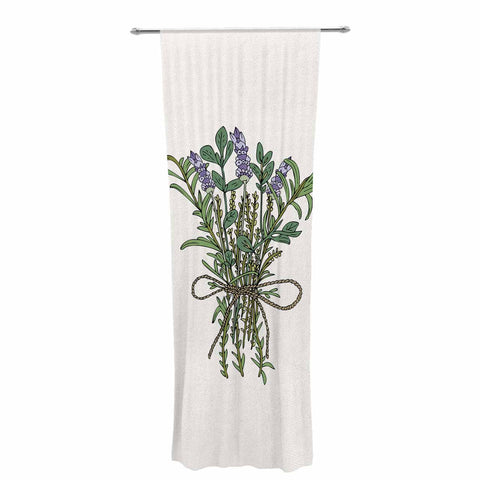 "Pom Graphic Design ""Herbal Bunch Of Love"" Lavender Green Illustration Decorative Sheer Curtain"