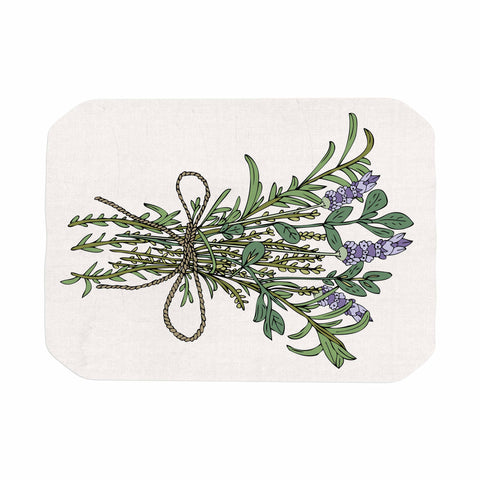 "Pom Graphic Design ""Herbal Bunch Of Love"" Lavender Green Illustration Place Mat"