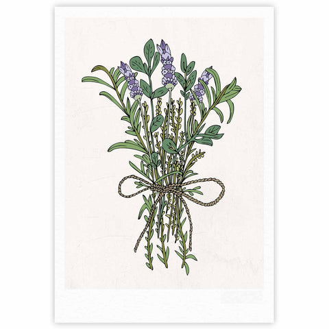 "Pom Graphic Design ""Herbal Bunch Of Love"" Lavender Green Illustration Fine Art Gallery Print"