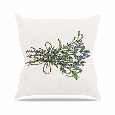 "Pom Graphic Design ""Herbal Bunch Of Love"" Lavender Green Illustration Outdoor Throw Pillow"