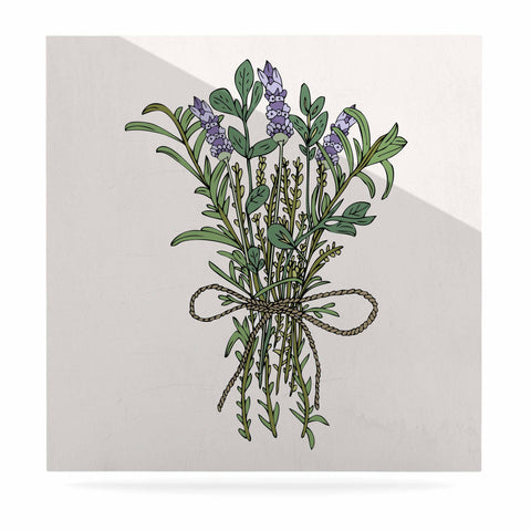 "Pom Graphic Design ""Herbal Bunch Of Love"" Lavender Green Illustration Luxe Square Panel"