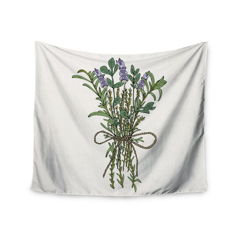 "Pom Graphic Design ""Herbal Bunch Of Love"" Lavender Green Illustration Wall Tapestry - KESS InHouse  - 1"