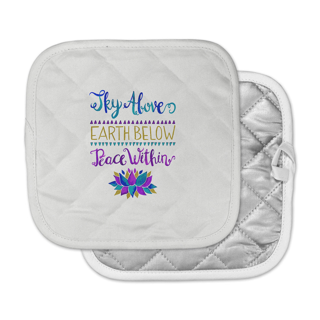 "Pom Graphic Design ""Sky Above Peace Within"" Purple Blue Typography Pot Holder"