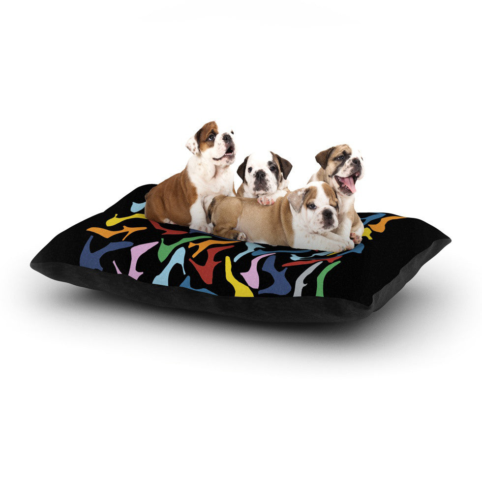 "Project M ""Shoes on Black"" Dog Bed - KESS InHouse  - 1"