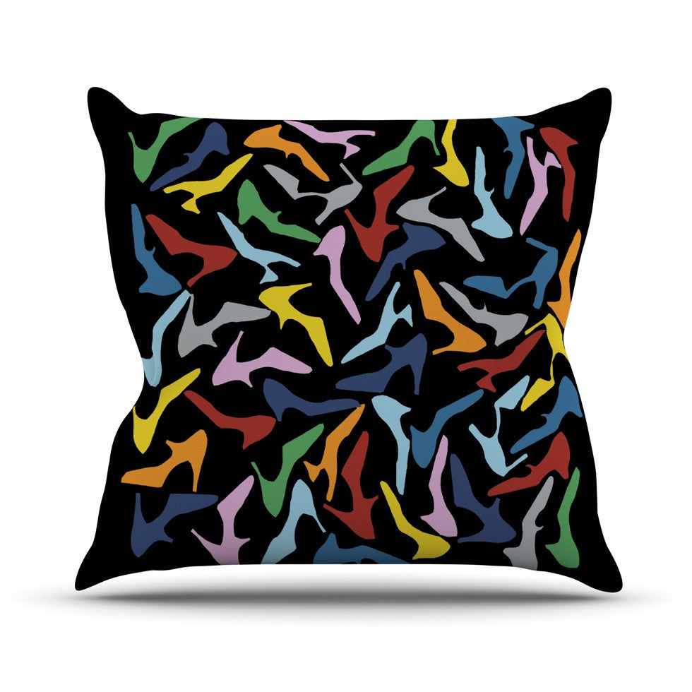 "Project M ""Shoes on Black"" Outdoor Throw Pillow - KESS InHouse  - 1"