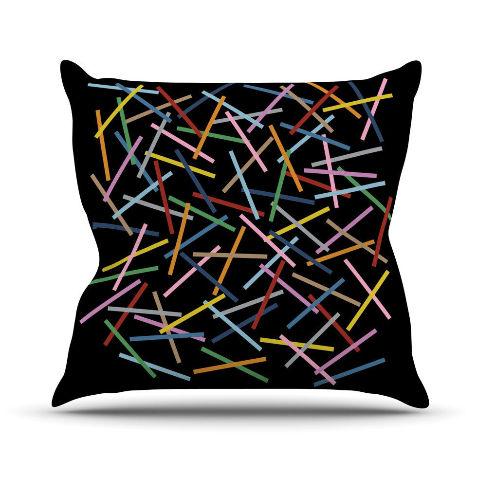 "Project M ""Sprinkles on Black"" Outdoor Throw Pillow - KESS InHouse  - 1"