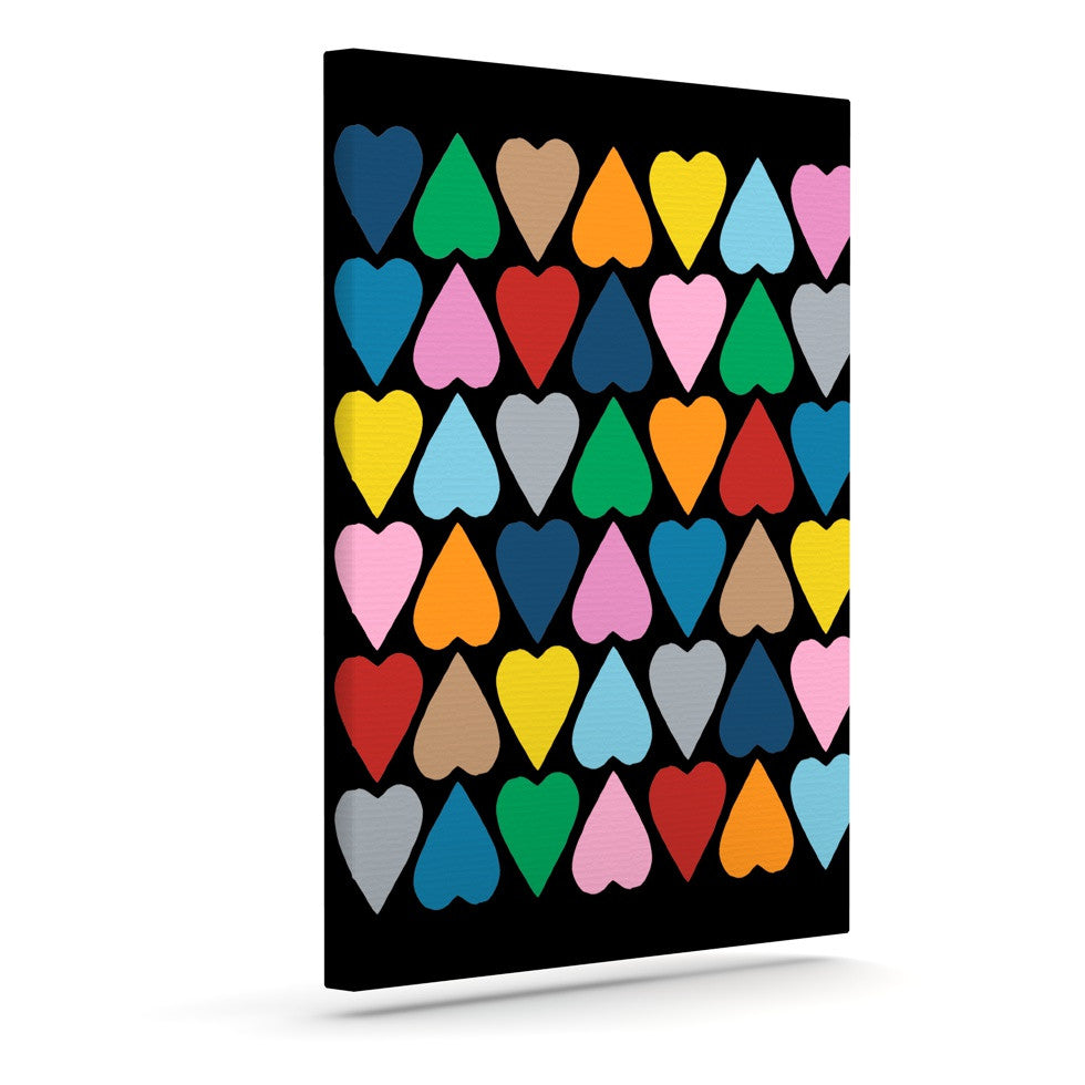 "Project M ""Up and Down Hearts on Black"" Outdoor Canvas Wall Art - KESS InHouse  - 1"