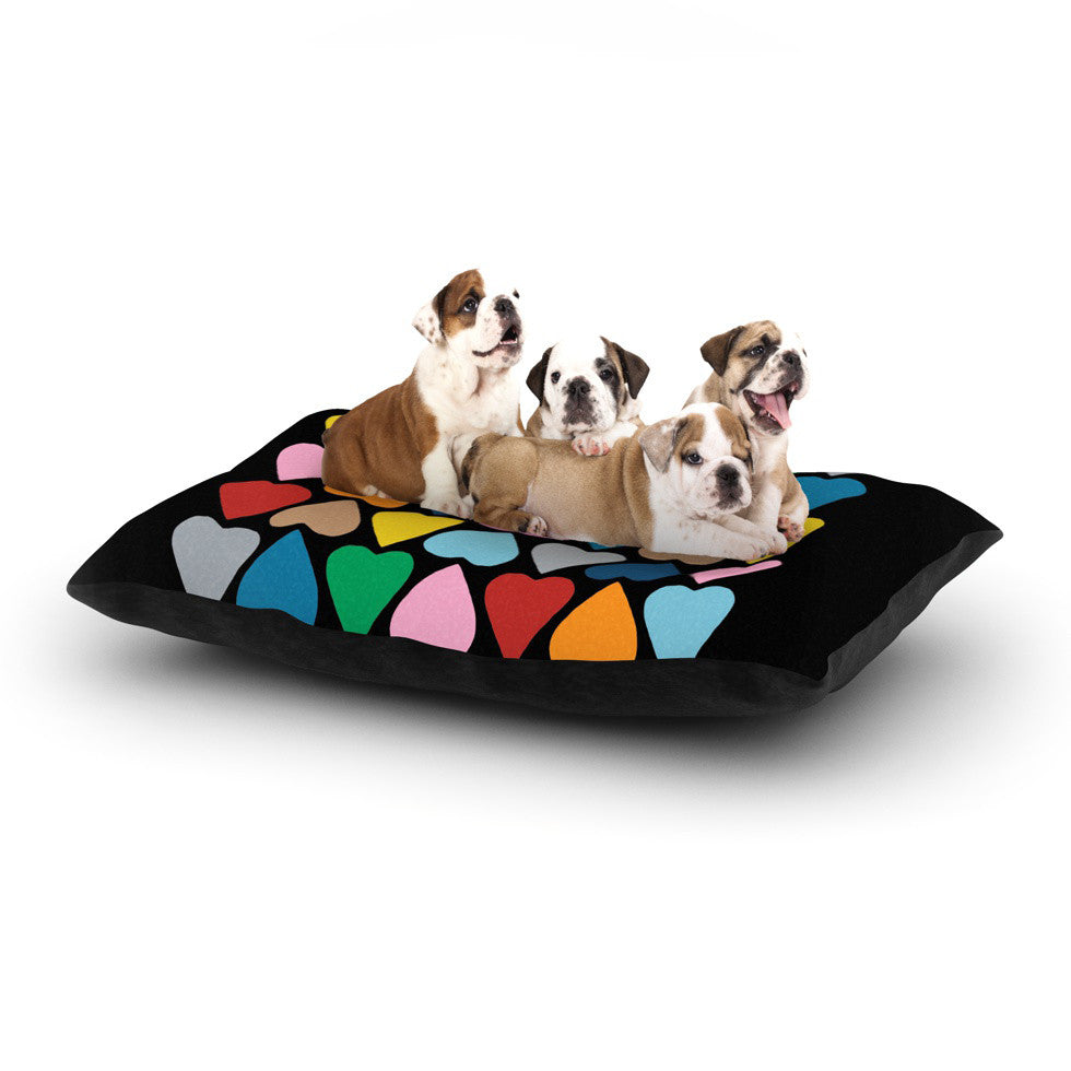 "Project M ""Up and Down Hearts on Black"" Dog Bed - KESS InHouse  - 1"