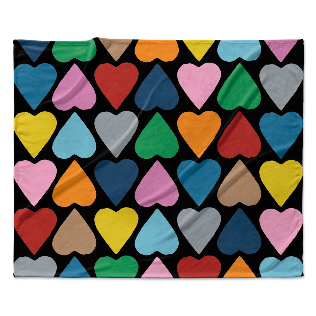 "Project M ""Up and Down Hearts on Black"" Fleece Throw Blanket"