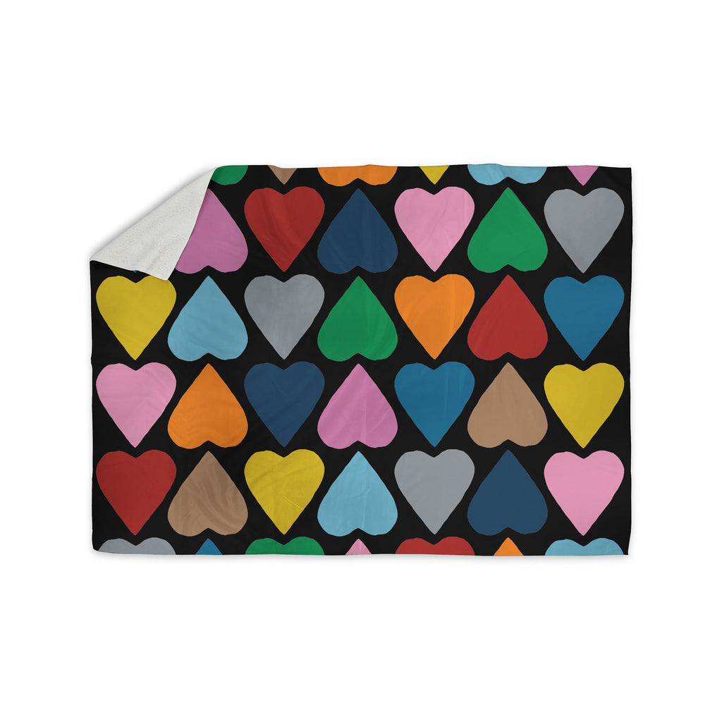 "Project M ""Up and Down Hearts on Black"" Sherpa Blanket - KESS InHouse  - 1"