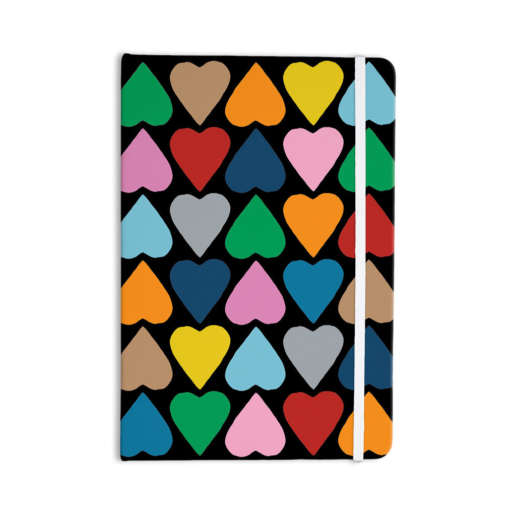 "Project M ""Up and Down Hearts on Black"" Everything Notebook - KESS InHouse  - 1"