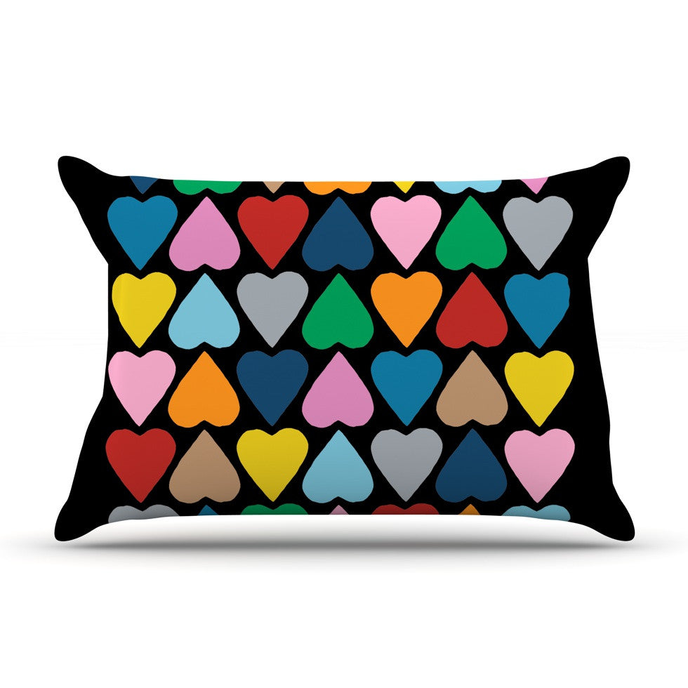 "Project M ""Up and Down Hearts on Black"" Pillow Sham - KESS InHouse"