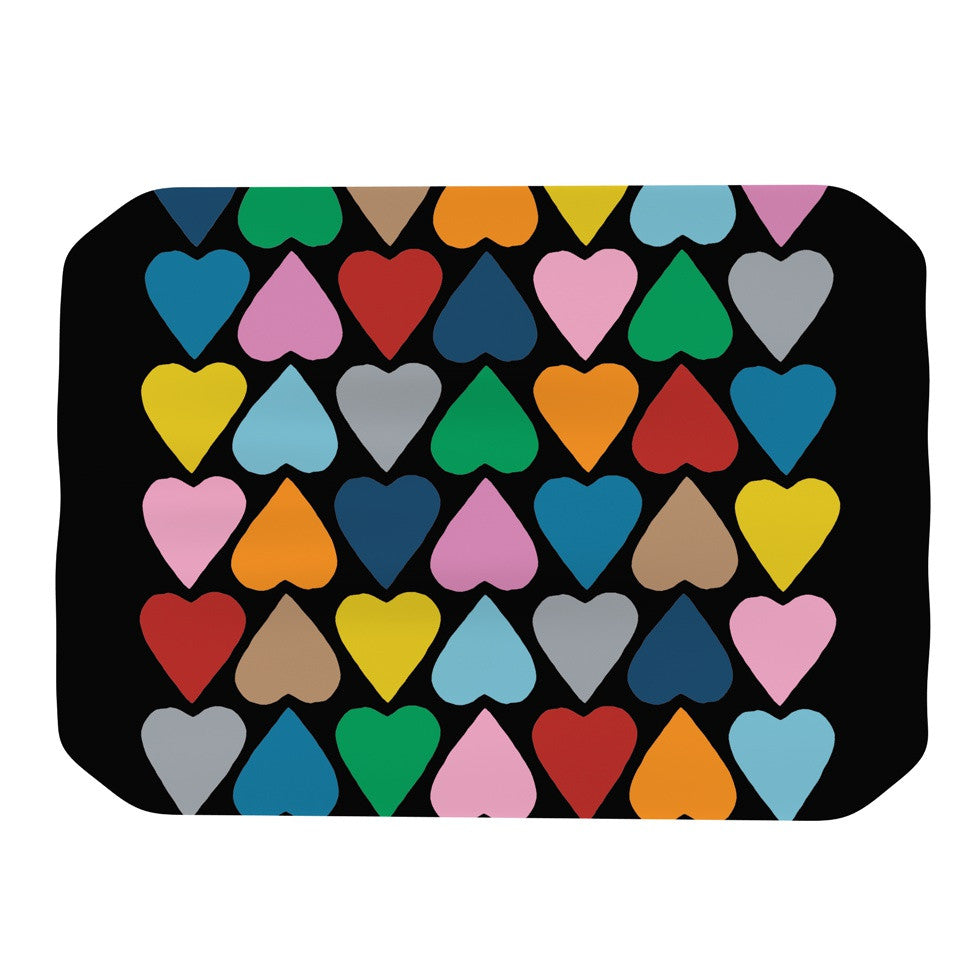 "Project M ""Up and Down Hearts on Black"" Place Mat - KESS InHouse"