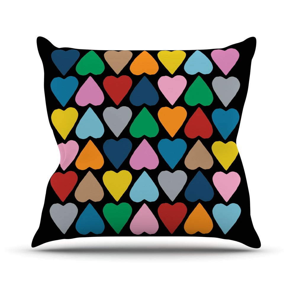 "Project M ""Up and Down Hearts on Black"" Throw Pillow - KESS InHouse  - 1"
