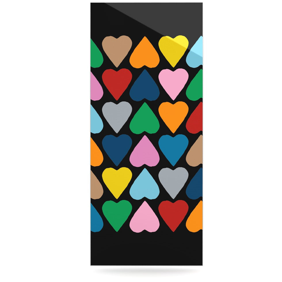 "Project M ""Up and Down Hearts on Black"" Luxe Rectangle Panel - KESS InHouse  - 1"