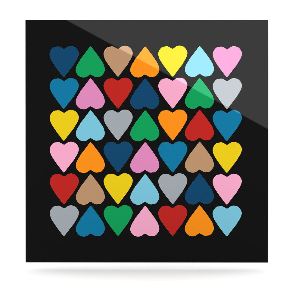 "Project M ""Up and Down Hearts on Black"" Luxe Square Panel - KESS InHouse  - 1"