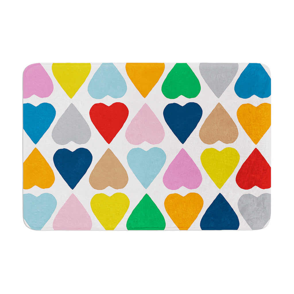 "Project M ""Diamond Hearts"" Memory Foam Bath Mat - KESS InHouse"