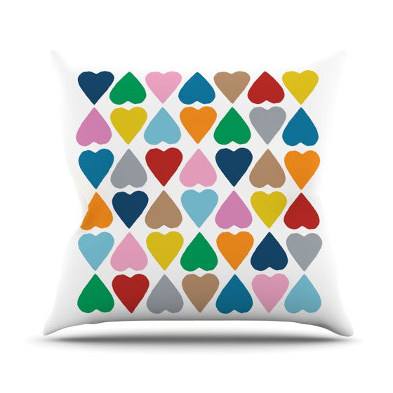 "Project M ""Diamond Hearts"" Outdoor Throw Pillow - KESS InHouse  - 1"