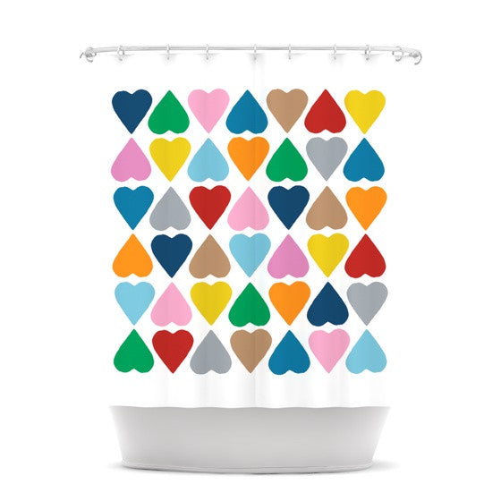 "Project M ""Diamond Hearts"" Shower Curtain - KESS InHouse"