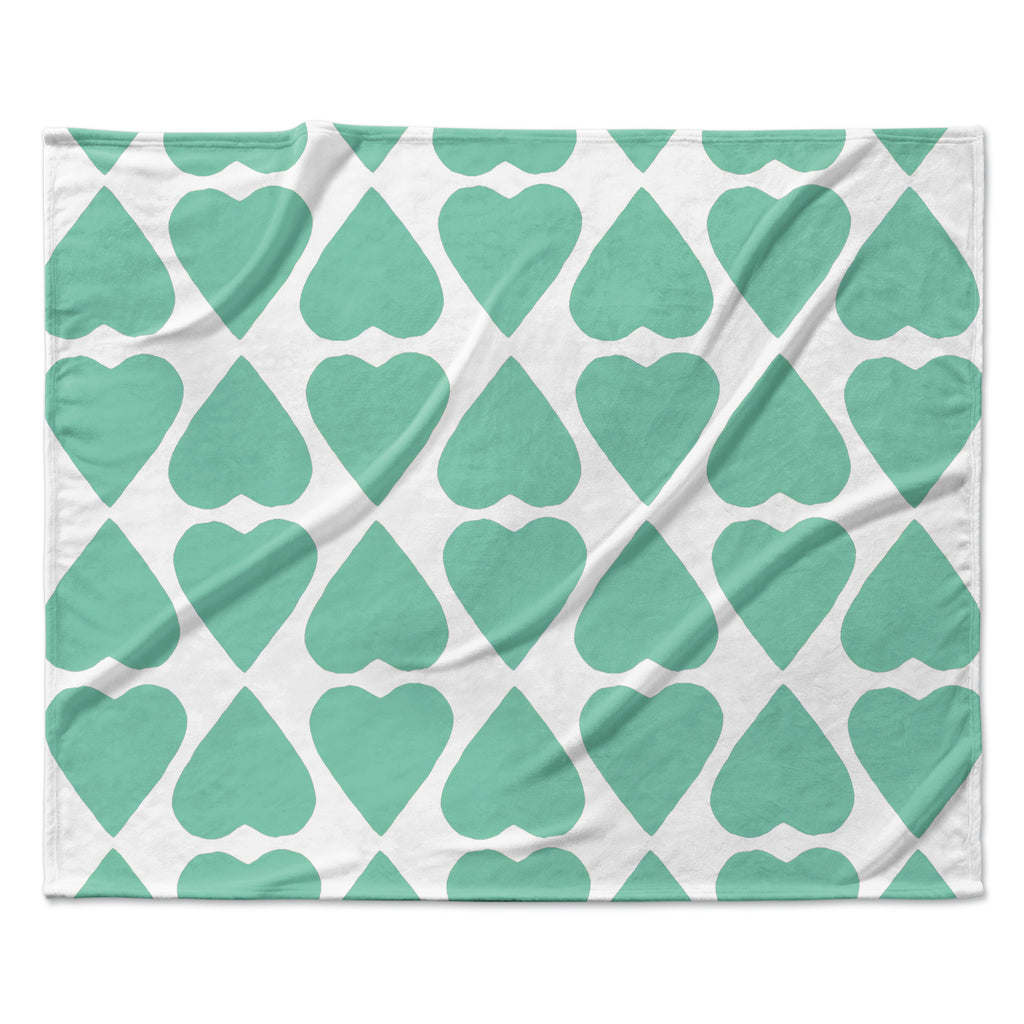 "Project M ""Mint Diamond Hearts"" Fleece Throw Blanket"