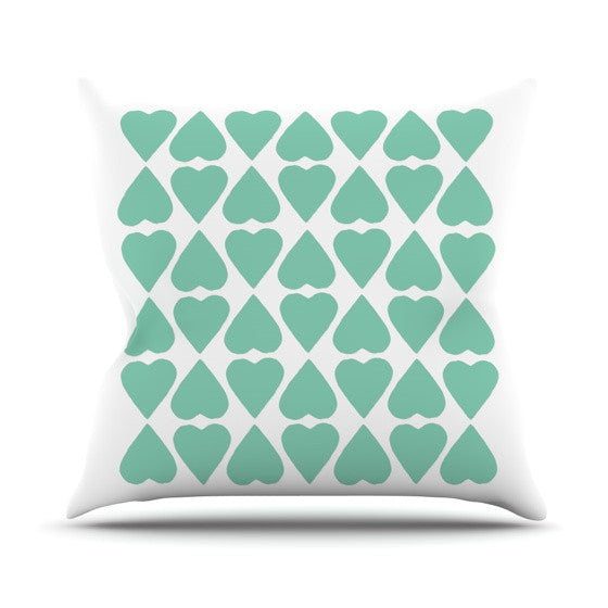 "Project M ""Mint Diamond Hearts"" Outdoor Throw Pillow - KESS InHouse  - 1"