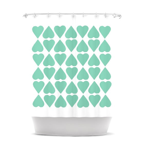 "Project M ""Mint Diamond Hearts"" Shower Curtain - KESS InHouse"