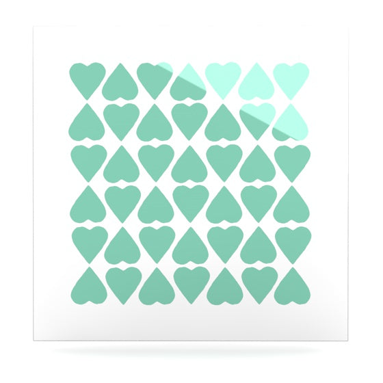 "Project M ""Mint Diamond Hearts"" Luxe Square Panel - KESS InHouse  - 1"
