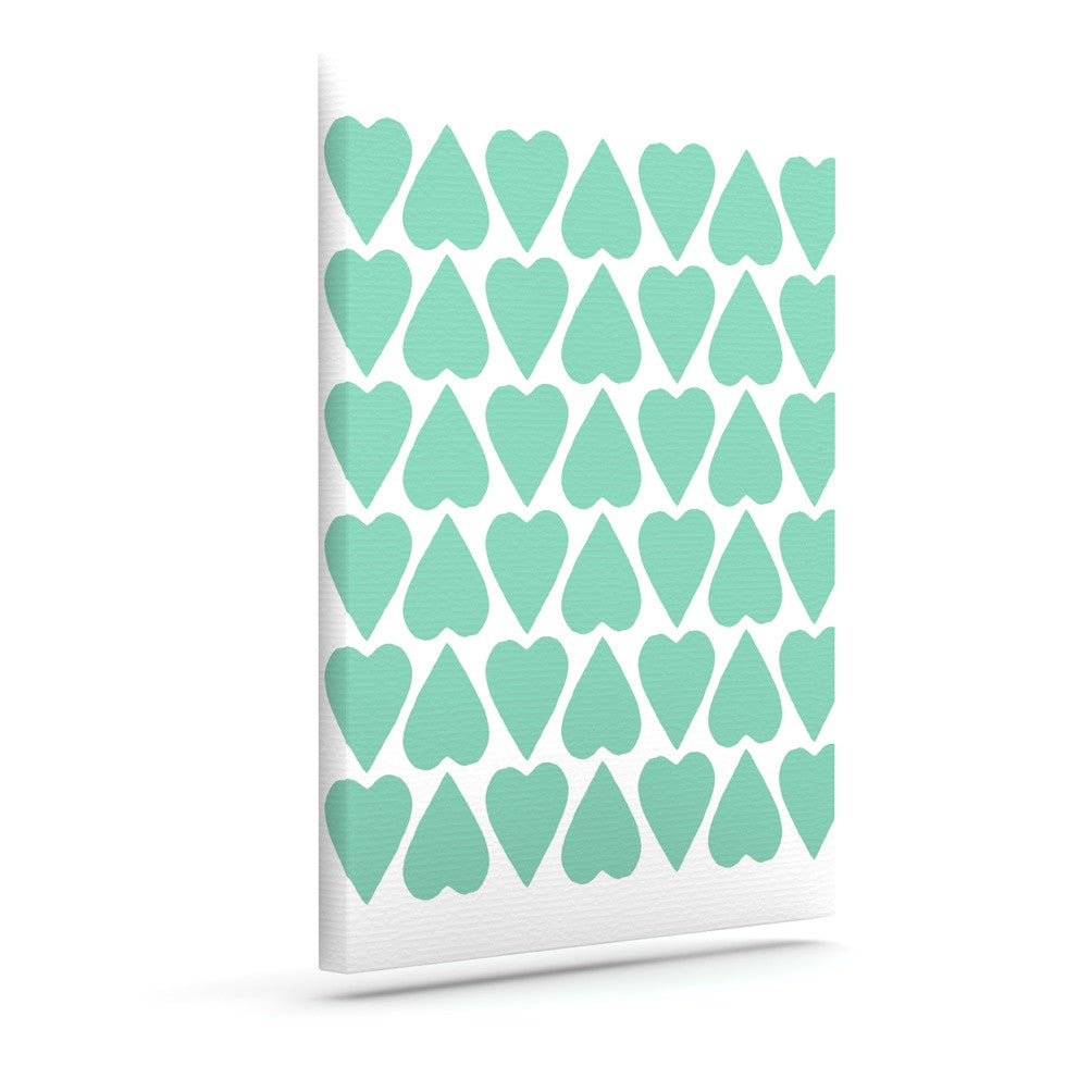 "Project M ""Mint Up and Down Hearts"" Outdoor Canvas Wall Art - KESS InHouse  - 1"