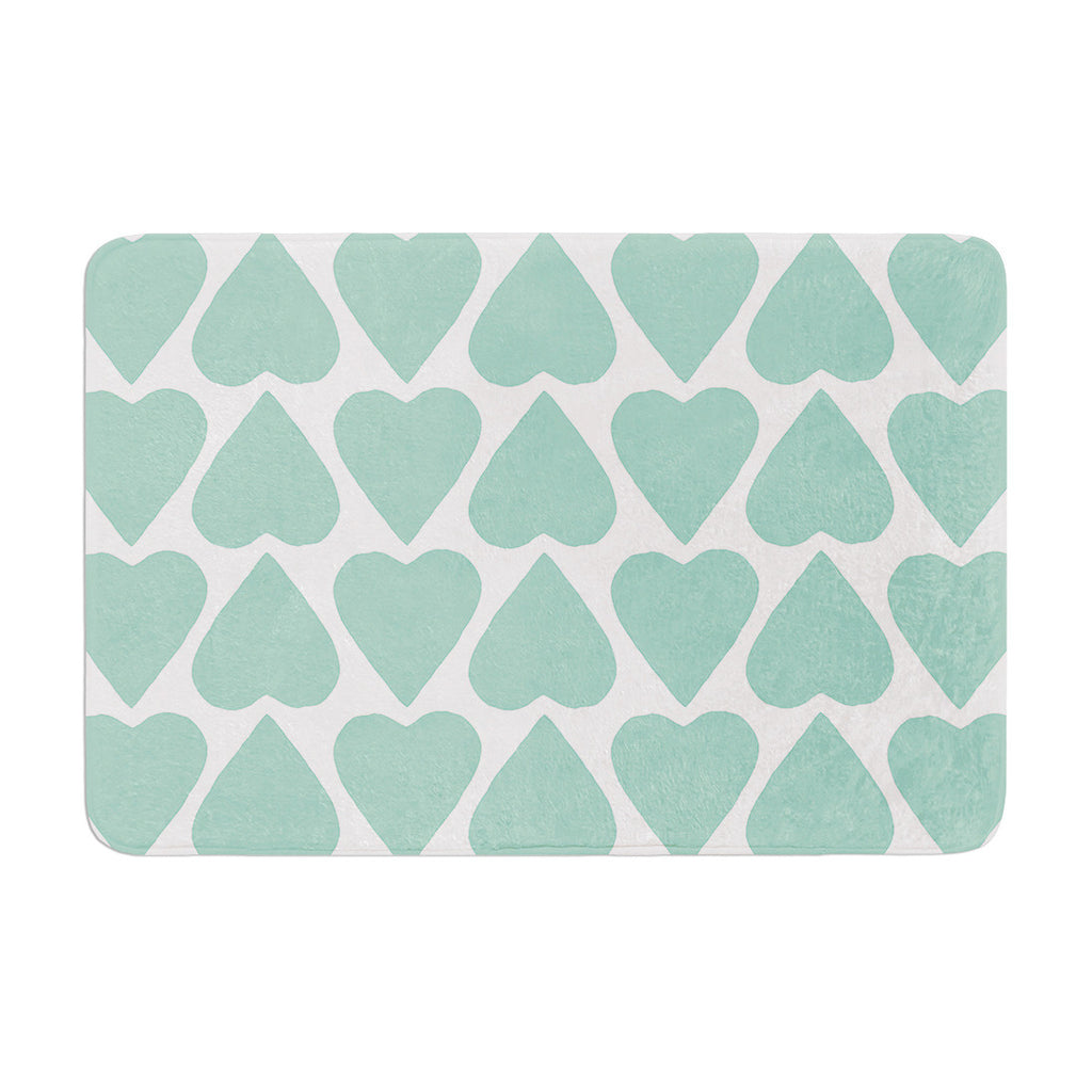 "Project M ""Mint Up and Down Hearts"" Memory Foam Bath Mat - KESS InHouse"