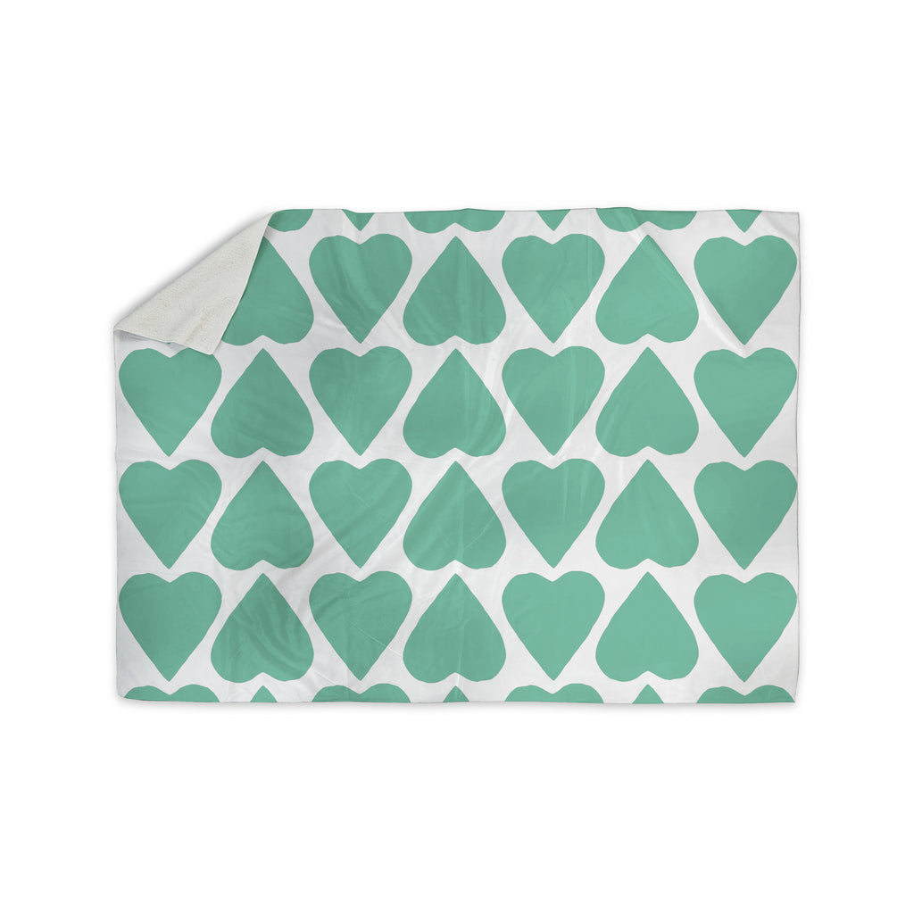 "Project M ""Mint Up and Down Hearts"" Sherpa Blanket - KESS InHouse  - 1"