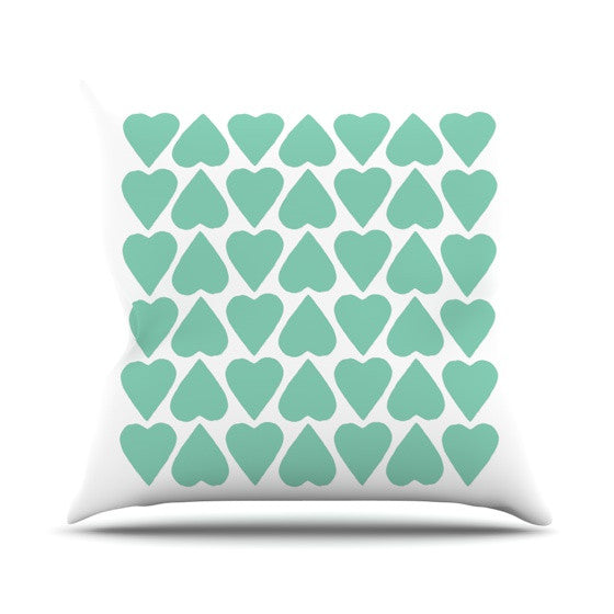 "Project M ""Mint Up and Down Hearts"" Outdoor Throw Pillow - KESS InHouse  - 1"