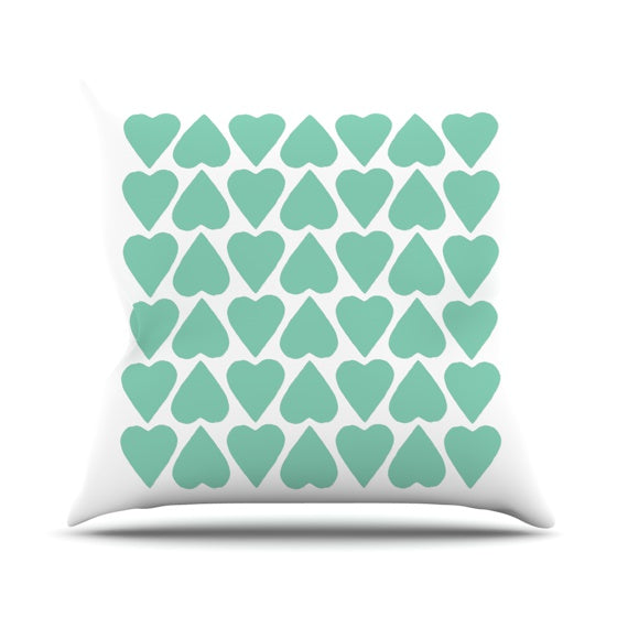 "Project M ""Mint Up and Down Hearts"" Throw Pillow - KESS InHouse  - 1"