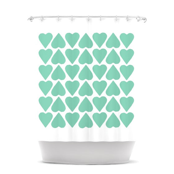 "Project M ""Mint Up and Down Hearts"" Shower Curtain - KESS InHouse"