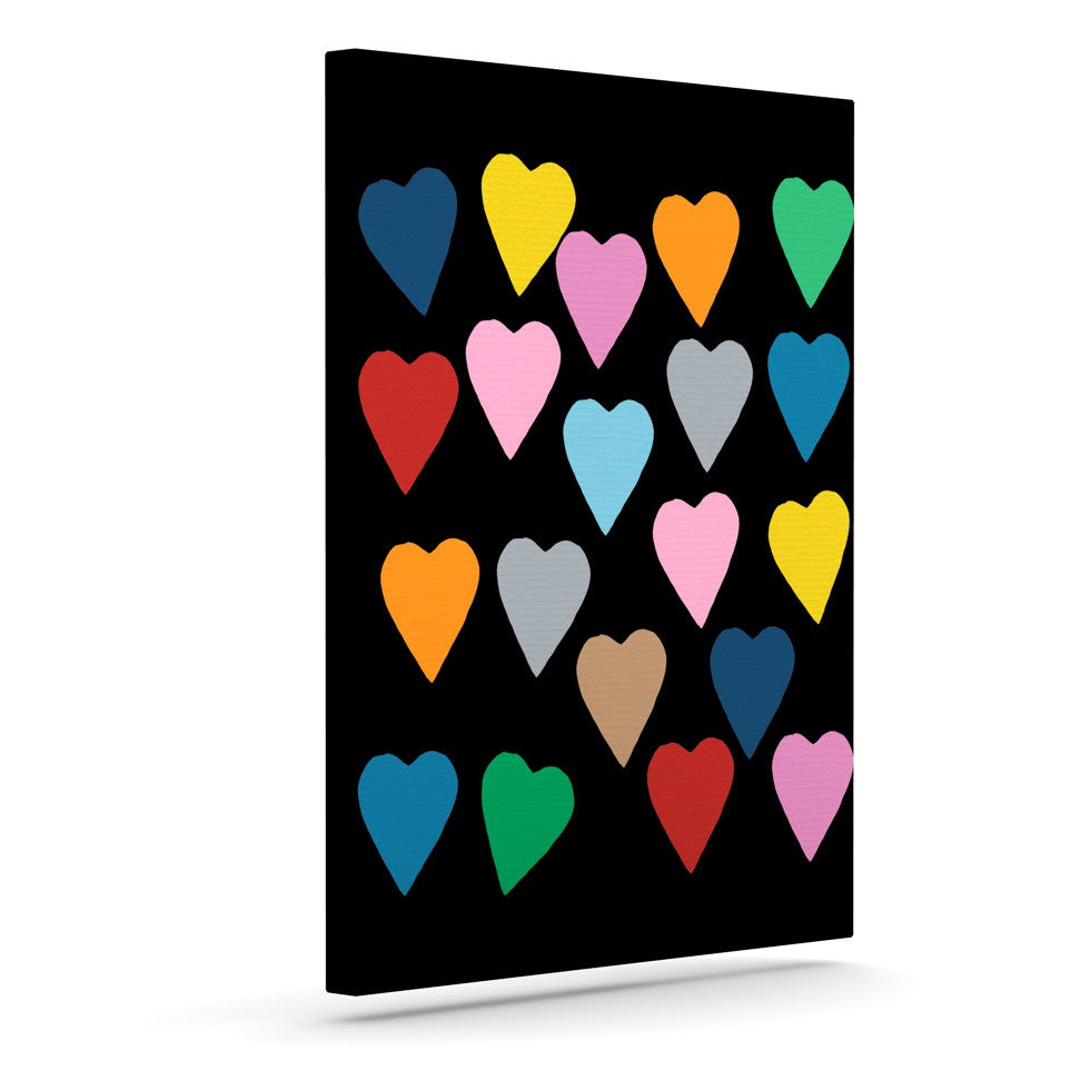 "Project M ""Hearts Colour on Black"" Outdoor Canvas Wall Art - KESS InHouse  - 1"
