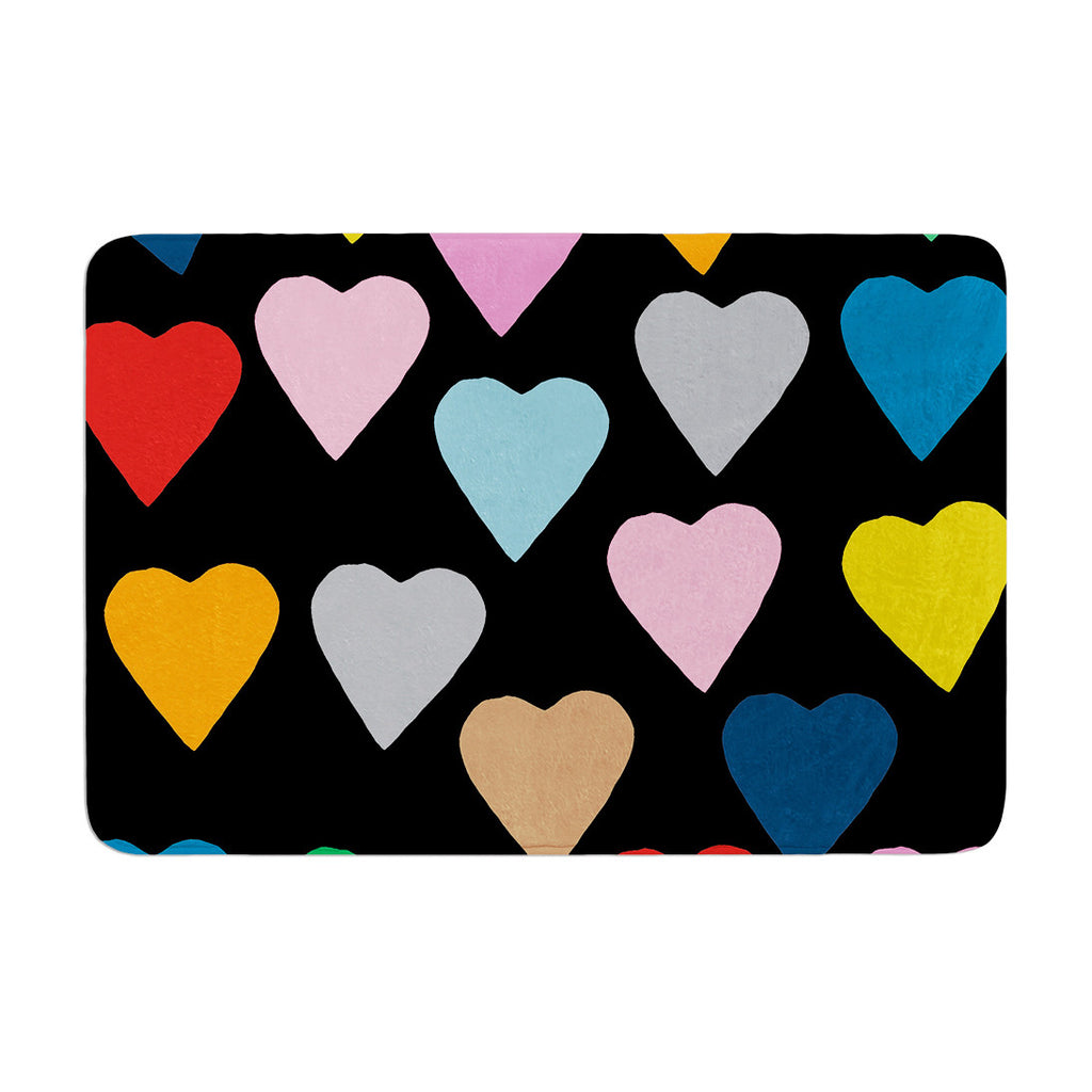 "Project M ""Hearts Colour on Black"" Memory Foam Bath Mat - KESS InHouse"