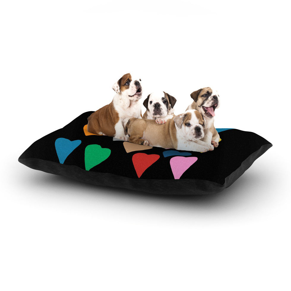 "Project M ""Hearts Colour on Black"" Dog Bed - KESS InHouse  - 1"