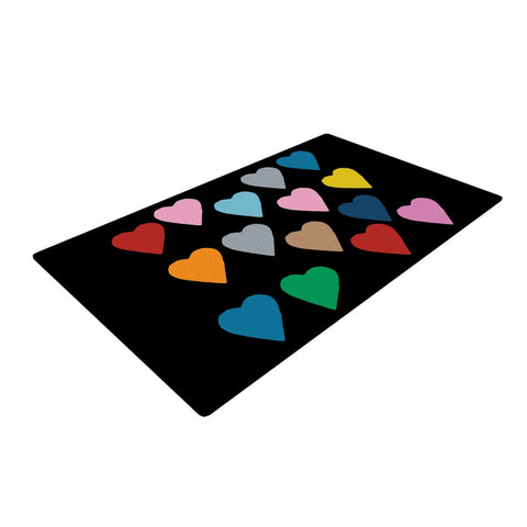 "Project M ""Hearts Colour on Black"" Woven Area Rug - Outlet Item - KESS InHouse"