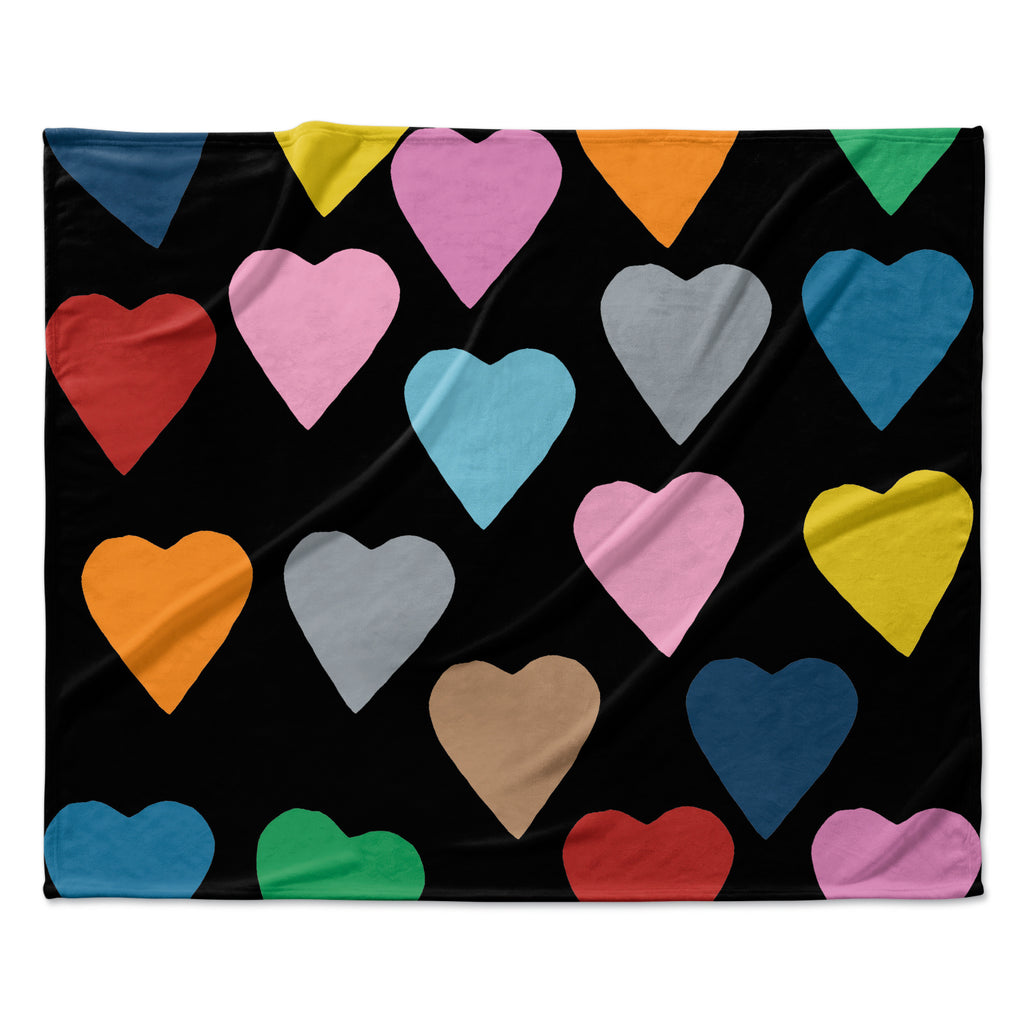 "Project M ""Hearts Colour on Black"" Fleece Throw Blanket"