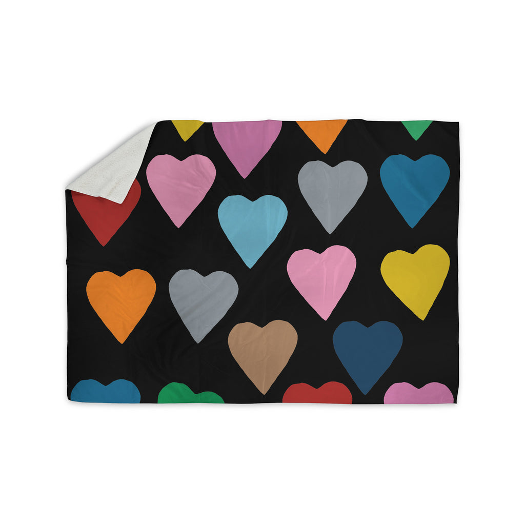 "Project M ""Hearts Colour on Black"" Sherpa Blanket - KESS InHouse  - 1"