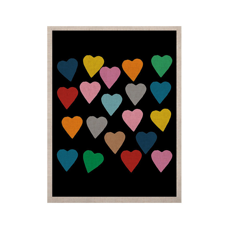 "Project M ""Hearts Colour on Black"" KESS Naturals Canvas (Frame not Included) - KESS InHouse  - 1"