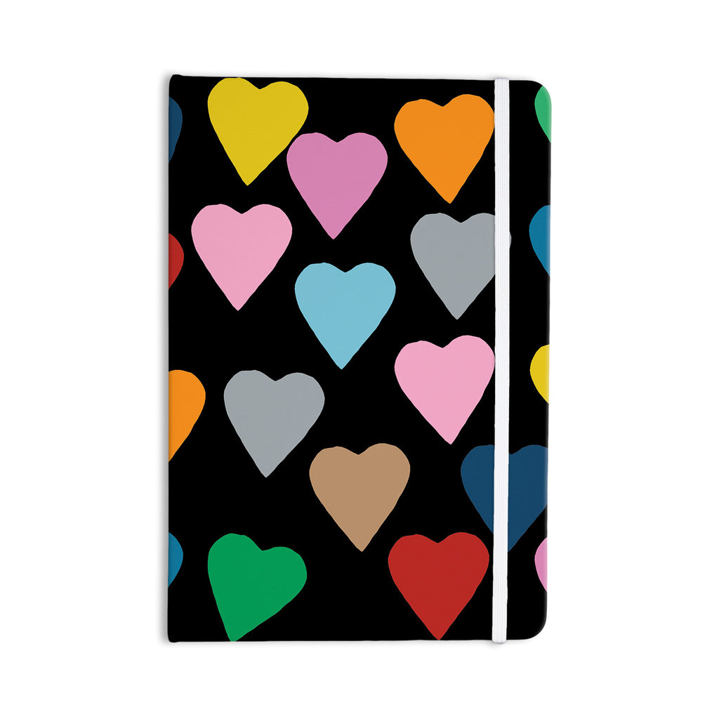 "Project M ""Hearts Colour on Black"" Everything Notebook - KESS InHouse  - 1"
