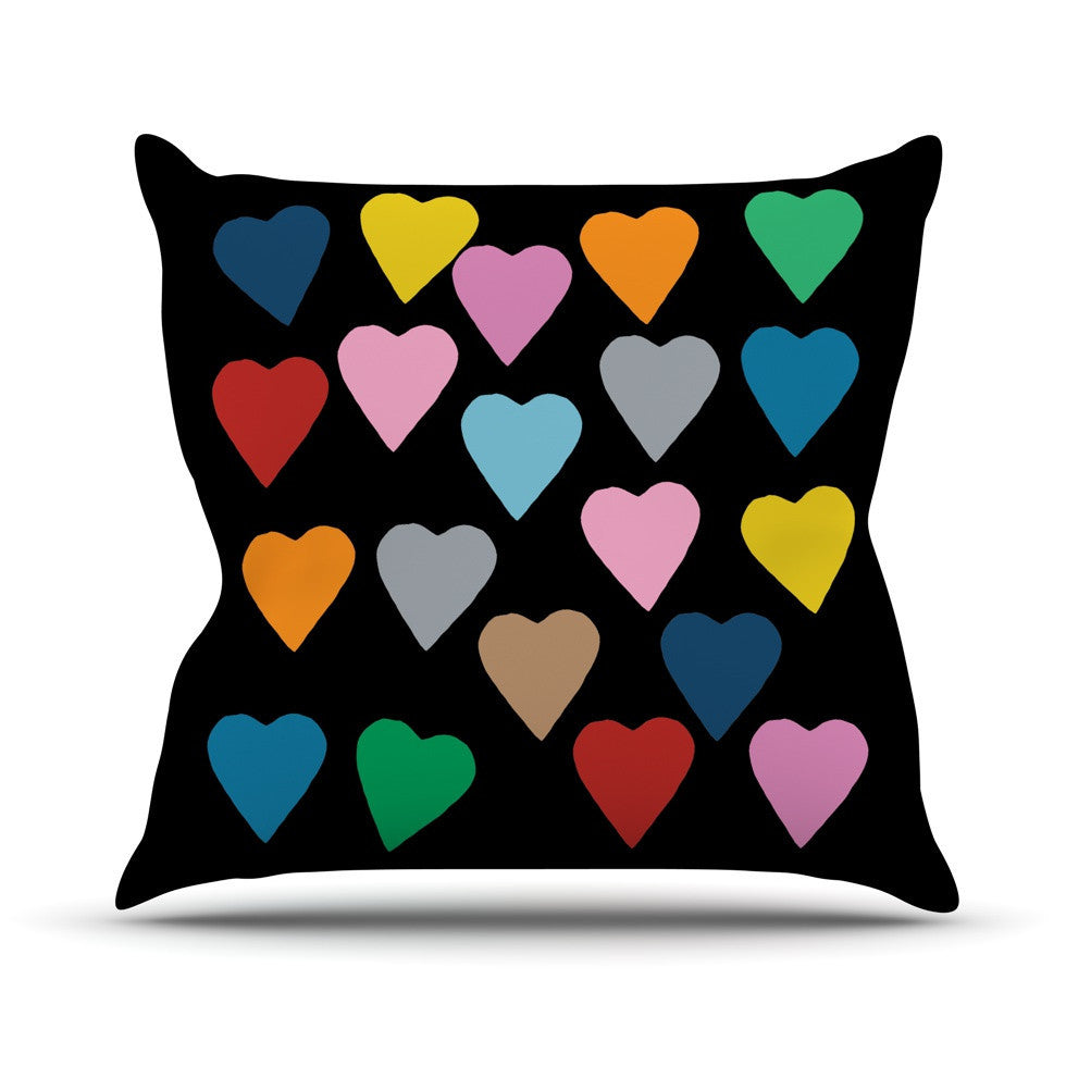 "Project M ""Hearts Colour on Black"" Outdoor Throw Pillow - KESS InHouse  - 1"