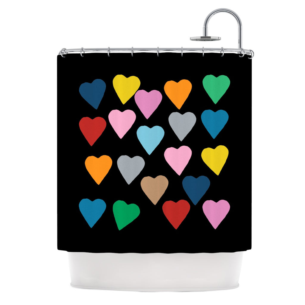 "Project M ""Hearts Colour on Black"" Shower Curtain - KESS InHouse"