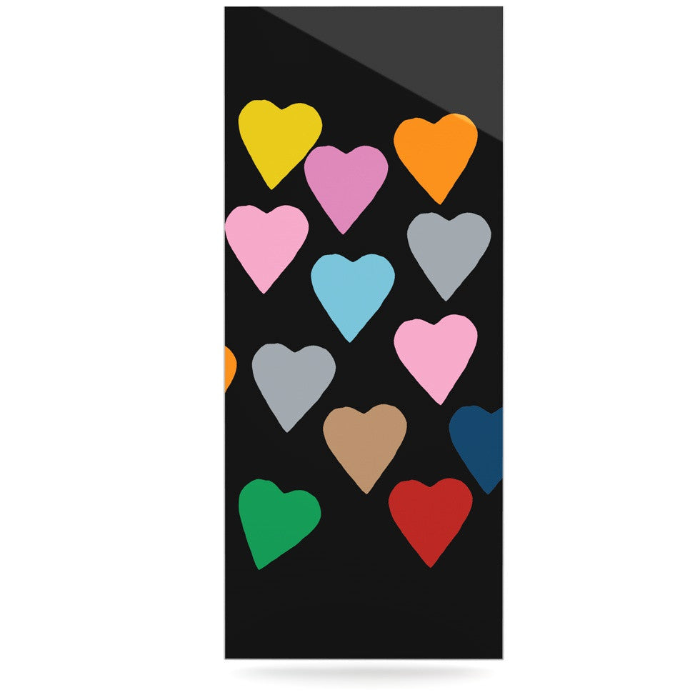 "Project M ""Hearts Colour on Black"" Luxe Rectangle Panel - KESS InHouse  - 1"