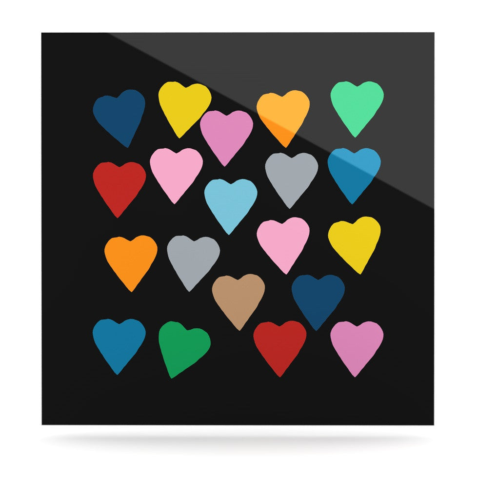 "Project M ""Hearts Colour on Black"" Luxe Square Panel - KESS InHouse  - 1"