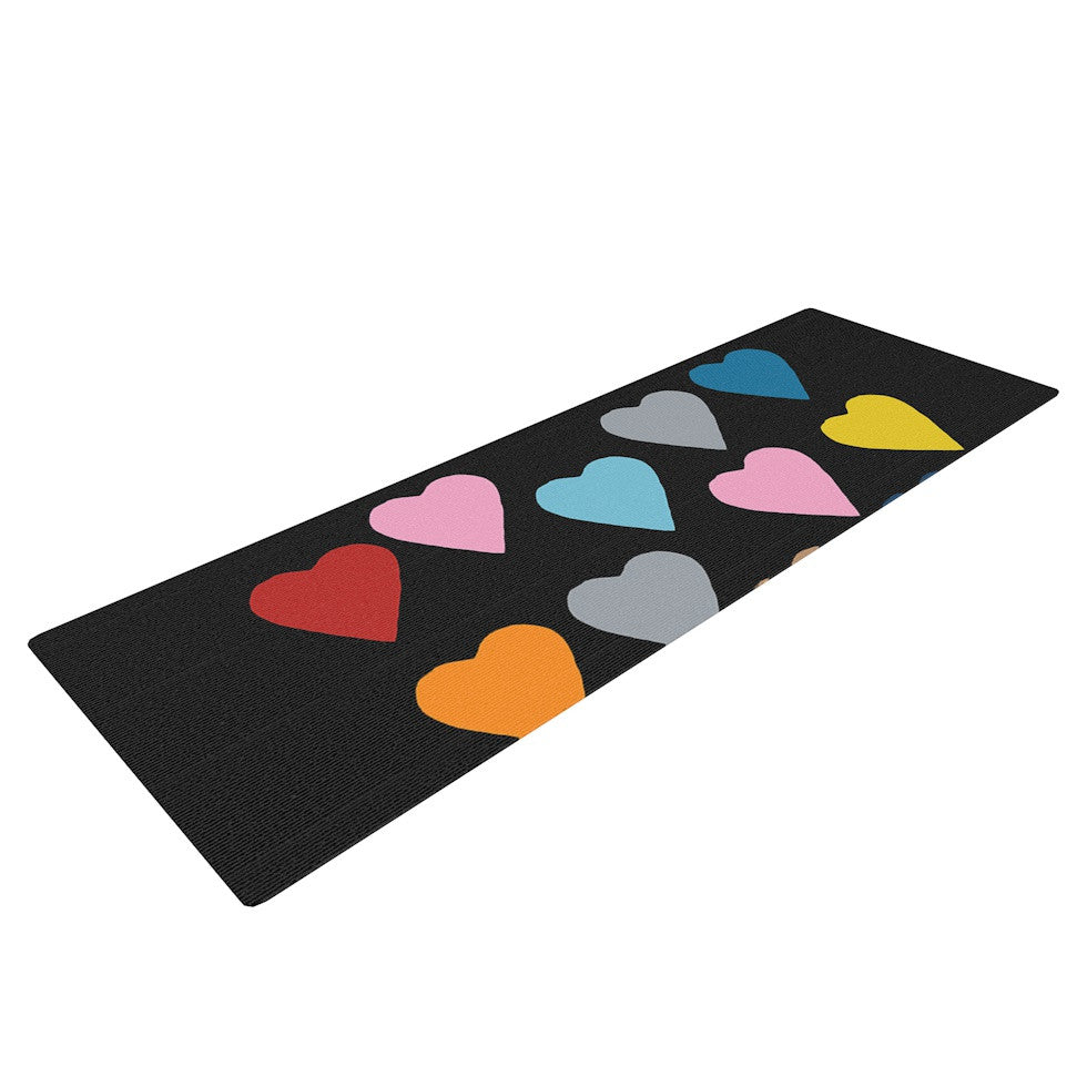 "Project M ""Hearts Colour on Black"" Yoga Mat - KESS InHouse  - 1"